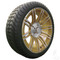 "15"" RHOX AC602 Machined/ Gold Wheels and Innova Driver 205/35R-15"" Low Profile DOT Tires Combo - Set of 4"