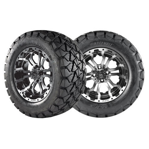 "12"" OMEGA Machined Aluminum Wheels and 22x10-12 All Terrain Tires Combo - TIMBERWOLF"
