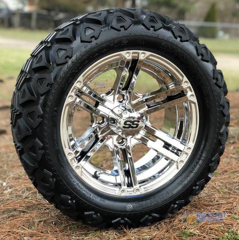 "12"" TERMINATOR Chrome Wheels and 20x10-12 DOT All Terrain Tires Combo - Set of 4"