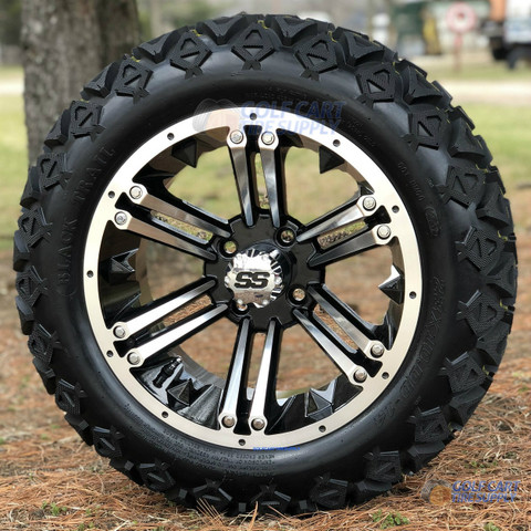 "14"" RAIDER Machined/ Black Wheels and 23x10-14"" DOT All Terrain Tires Combo - Set of 4"