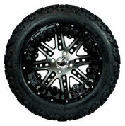 "14"" MEGASTAR Machined/ Black Wheels and 23x10-14"" DOT All Terrain Tires Combo - Set of 4"