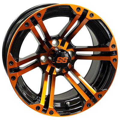 "14"" TERMINATOR Gloss Black/Radiant ORANGE Aluminum Golf Cart Wheels - Set of 4"