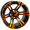 "12"" TERMINATOR Gloss Black/Radiant ORANGE Aluminum Golf Cart Wheels - Set of 4"