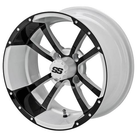 "12"" STORM TROOPER WHITE/ Black Aluminum Golf Cart Wheels - Set of 4"