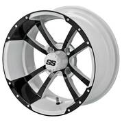"12"" STORM TROOPER WHITE/ Black Aluminum Golf Cart Wheels - Set of 4"