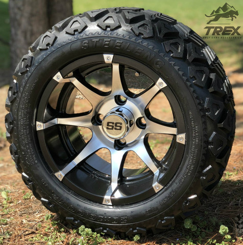 "12"" BANSHEE Machined/Black Aluminum Wheels and 20x10-12"" DOT All Terrain Tires Combo"