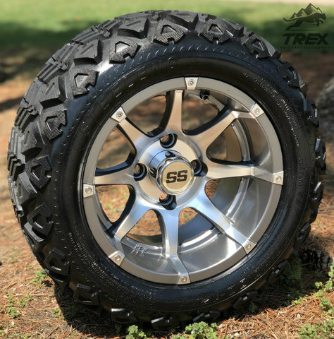 "12"" BANSHEE Gunmetal Aluminum Wheels and 20x10-12"" DOT All Terrain Tires Combo - Set of 4"