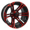 "14"" TERMINATOR Gloss Black/Radiant RED Aluminum Golf Cart Wheels - Set of 4"