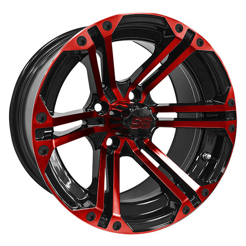 "14"" TERMINATOR Gloss Black/Radiant RED Aluminum Golf Cart Wheels - Set of 4"