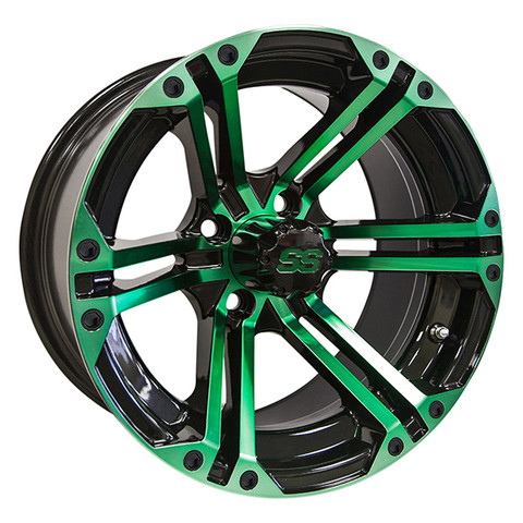 "14"" TERMINATOR Gloss Black/Radiant GREEN Aluminum Golf Cart Wheels - Set of 4"