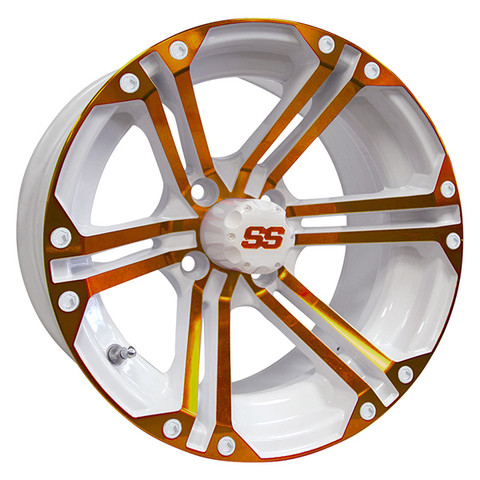 "14"" TERMINATOR White/ORANGE Aluminum Golf Cart Wheels - Set of 4"