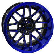 "14"" NIGHTHAWK Gloss Black/Radiant BLUE Aluminum Golf Cart Wheels - Set of 4"