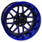 "14"" NIGHTHAWK Gloss Black/Radiant BLUE Aluminum Golf Cart Wheels - Set of 4"