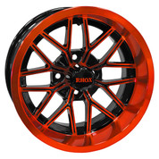 "14"" NIGHTHAWK Gloss Black/Radiant ORANGE Aluminum Golf Cart Wheels - Set of 4"