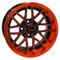 "14"" NIGHTHAWK Gloss Black/Radiant ORANGE Aluminum Golf Cart Wheels - Set of 4"
