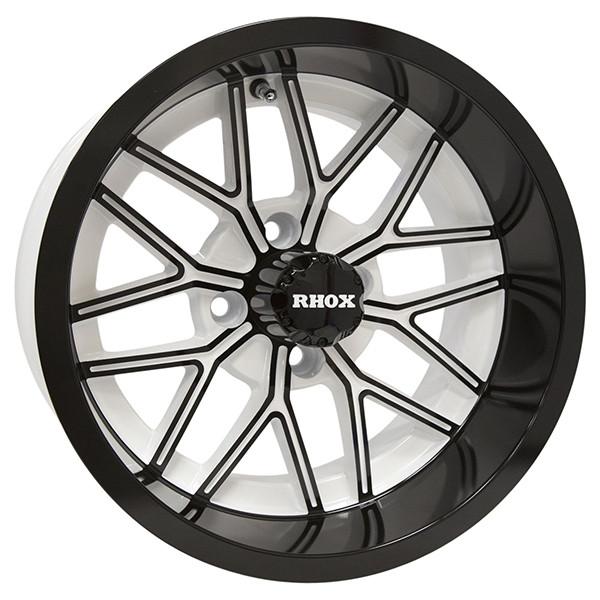14 Nighthawk Gloss Black White Golf Cart Wheels Set Of 4 Golf Cart Tire Supply