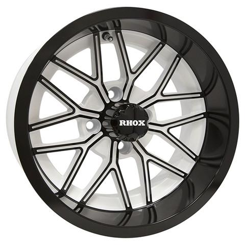 "14"" NIGHTHAWK White/Gloss Black Aluminum Golf Cart Wheels - Set of 4"