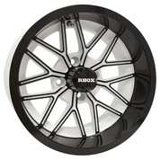 "14"" NIGHTHAWK White/Gloss Black Aluminum Golf Cart Wheels - Set of 4"