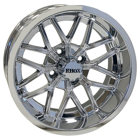 "14"" NIGHTHAWK Chrome Aluminum Golf Cart Wheels - Set of 4"