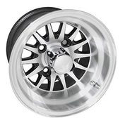 "RHOX Phoenix 10"" Machined/ Black Golf Cart Wheels 14 spoke - Set of 4"