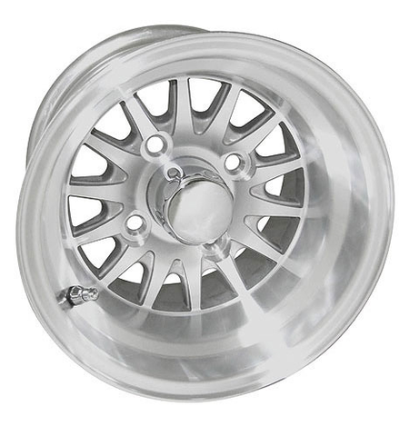 "RHOX Phoenix 10"" Machined/ Silver Golf Cart Wheels 14 spoke - Set of 4"