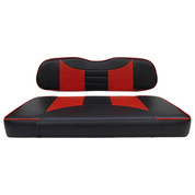 Club Car DS Seat Covers - Rally Front Seats - Black/Red (Fits 2000+)