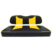 Club Car DS Seat Covers - Rally Front Seats - Black/Yellow (Fits 2000+)