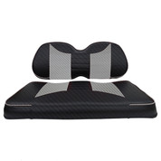 Club Car Precedent Seat Covers - Rally Front Seats - Black Carbon Fiber/Silver Carbon Fiber