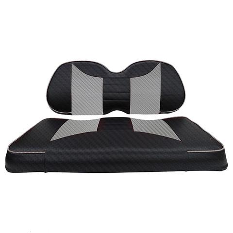 Club Car Precedent Seat Covers - Rally Front Seats - Black Carbon Fiber/Silver Carbon Fiber