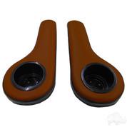 Black/Saddle Brown Golf Cart Cup Holder Rear Seat Arm Rest Cushion (Fits EZGO, Club Car & Yamaha)