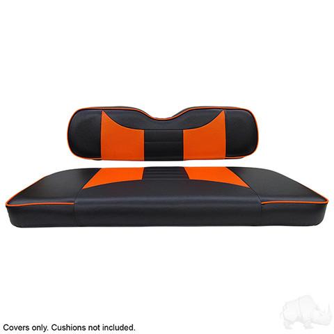 EZGO TXT / RXV Seat Covers - Rally Front Seats - Black/Orange