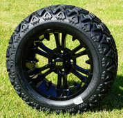 "14"" VAMPIRE Gloss Black Aluminum Wheels and 23x10-14 All Terrain Tire Combo - Set of 4"