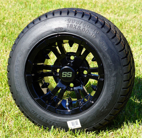 """10"""" VAMPIRE Gloss Black Wheels and 205/50-10 Low Profile DOT Tires Combo - Set of 4"""