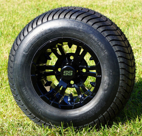 """10"""" VAMPIRE Black Wheels and 205/65-10 Comfortride DOT Street Tires Combo - Set of 4"""