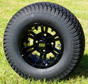 "10"" VAMPIRE Gloss Black Wheels and 20x8-10"" TURF Tires Combo - Set of 4"