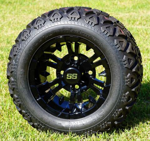 """10"""" VAMPIRE GLOSS BLACK Golf Cart Wheels and 18x9-10 DOT All Terrain Golf Cart Tires Combo - Set of 4"""