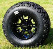 "10"" VAMPIRE Gloss Black Wheels and 20x10-10 DOT All Terrain Tires - Set of 4"