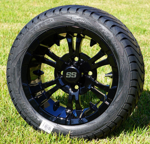 "12"" VAMPIRE Gloss Black Aluminum Wheels and 215/40-12 Low Profile DOT Tires Combo - Set of 4"