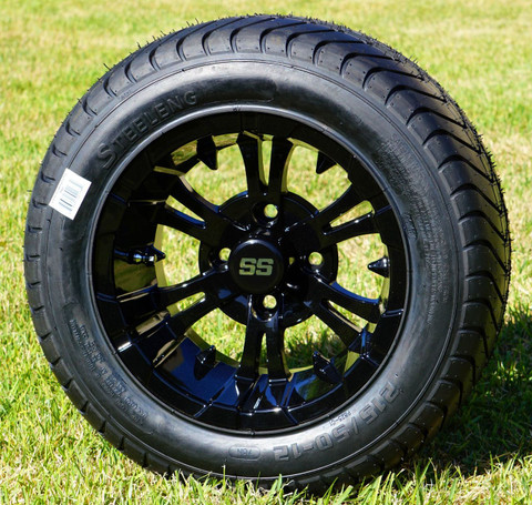 "12"" VAMPIRE Gloss Black Aluminum Wheels and 215/50-12 Comfortride DOT Street Tires Combo - Set of 4"