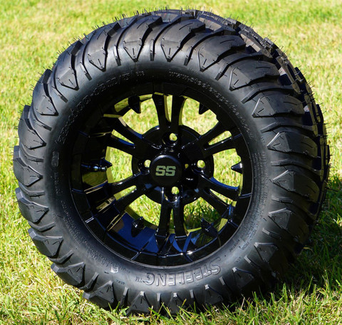 "12"" VAMPIRE Gloss Black Aluminum Wheels and 22x11-12 Crawler All Terrain Tires Combo - Set of 4"