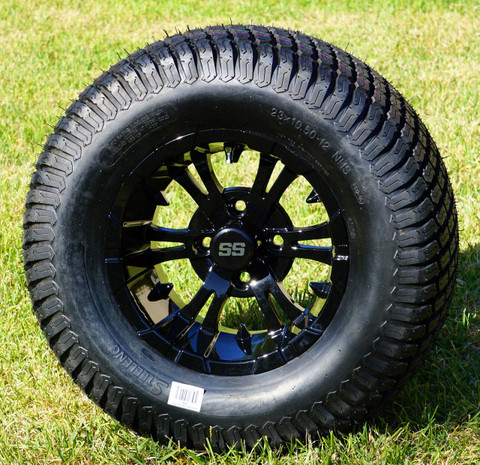 "12"" VAMPIRE Gloss Black Aluminum Wheels and 23x10.5-12"" TURF Tires Combo - Set of 4"