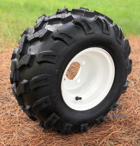 "8"" White Steel Golf Cart Wheels and 18x9.50-8"" SLASHER Sport All Terrain Tire Combo"
