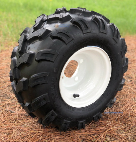 "8"" White Steel Golf Cart Wheels and 18x9.50-8"" SLASHER Sport All Terrain Tire Combo"