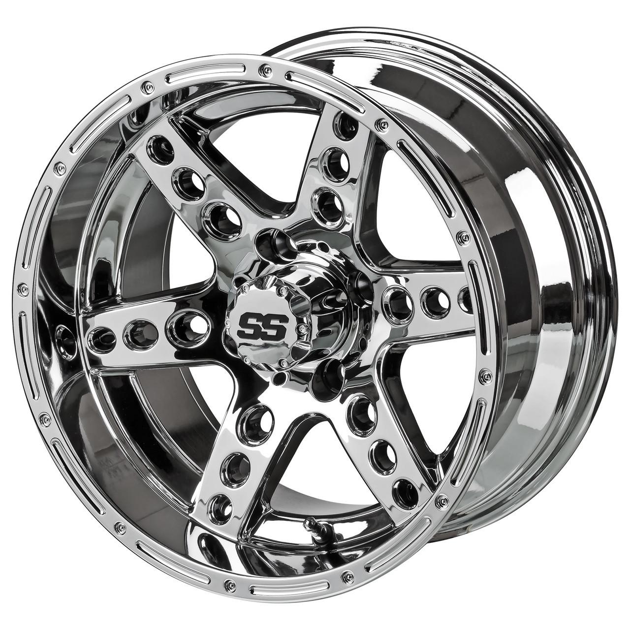 14 Dominator Mirrored Chrome Golf Cart Wheels Set Of 4 Golf Cart Tire Supply