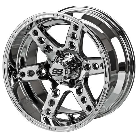 "14"" DOMINATOR MIRRORED Aluminum Golf Cart Wheels - Set of 4"