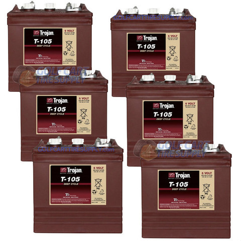 6-Volt Golf Cart Batteries - Trojan Battery 6V/225Ah T-105 (6-Pack, 36V)