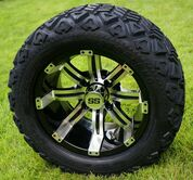 "14"" TEMPEST Machined/ Black Wheels and 23"" All Terrain Tires Combo"