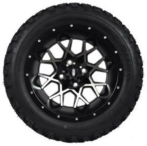 "14"" ITP Hurricane Machined/ Black Wheels and Slasher 23"" XT Trail AT Tires Combo - Set of 4"