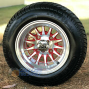 """10"""" PHOENIX RED/ Machined Wheels and 205/50-10 Low Profile DOT Tires Combo - Set of 4"""