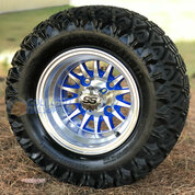 """10"""" PHOENIX BLUE/ Machined Wheels and 20x10-10 DOT All Terrain Tires Combo - Set of 4"""
